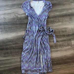 Old Navy Wrap Dress Purple Blue Chevron S